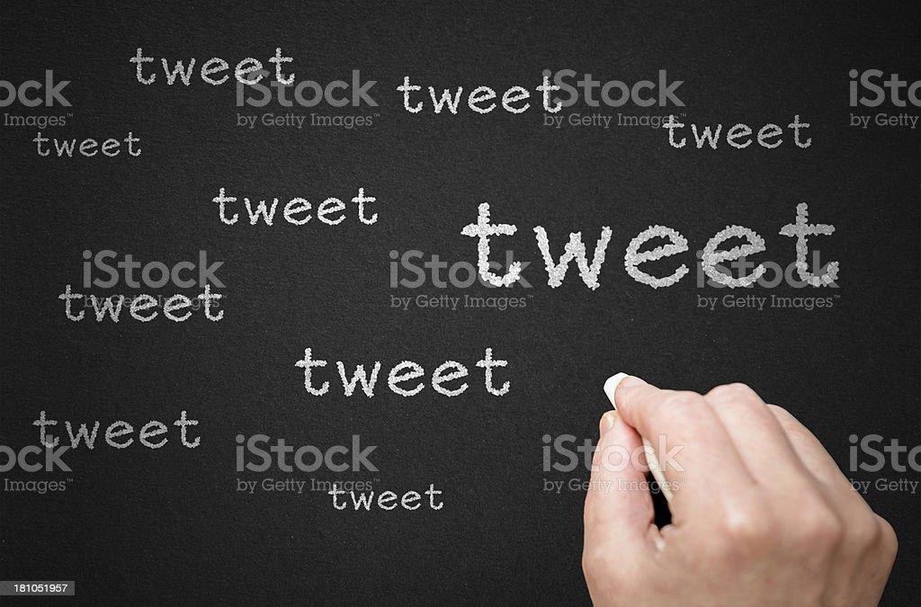 tweet on blackboard royalty-free stock photo