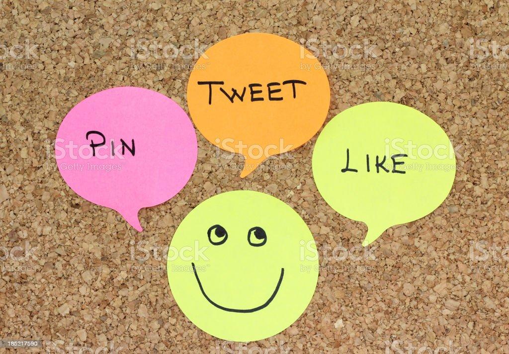 Tweet, pin, like stock photo