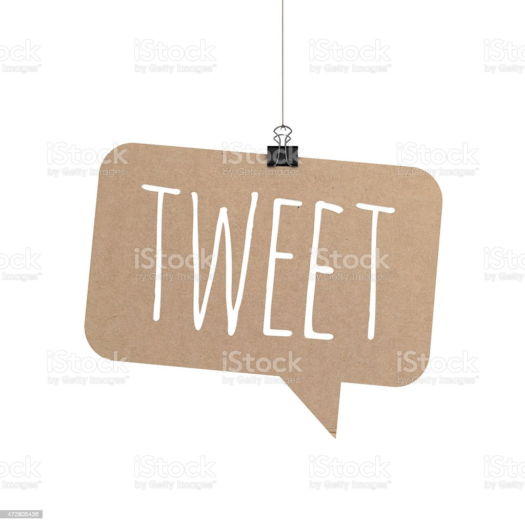 Tweet speech bubble hanging on a string stock photo