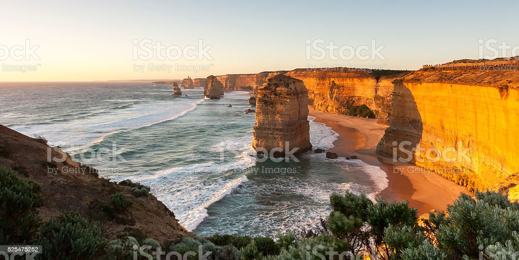Twelve Apostles at sunset.  Port Campbell National Park. Australia stock photo