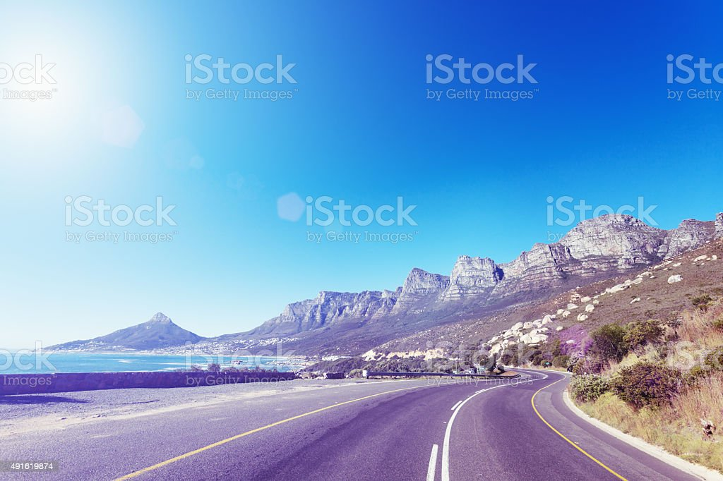 Twelve Apostles cliffs on a sunny summer Cape Town day stock photo