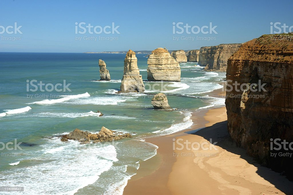 Twelve Apostles on a panoramic view on sunny day stock photo