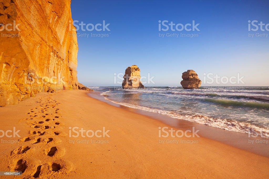 Twelve Apostles on the Great Ocean Road, Australia at sunset stock photo