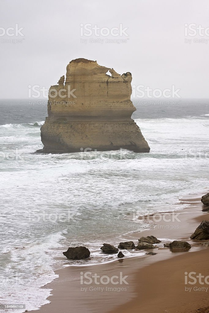 Twelve Apostles rock formation in a misty day. Victoria. Australia. royalty-free stock photo