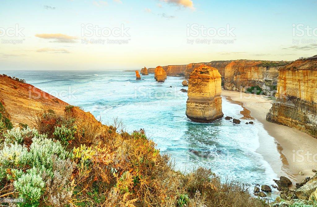 Twelve Apostles sea rocks Great Ocean Road stock photo