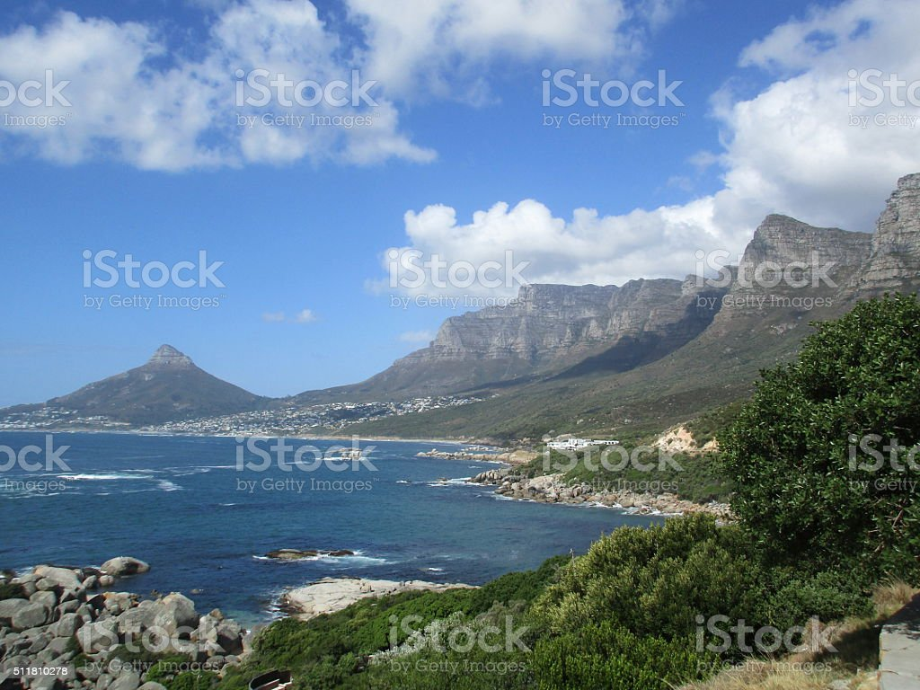 twelve apostles, table mountain and lions head stock photo