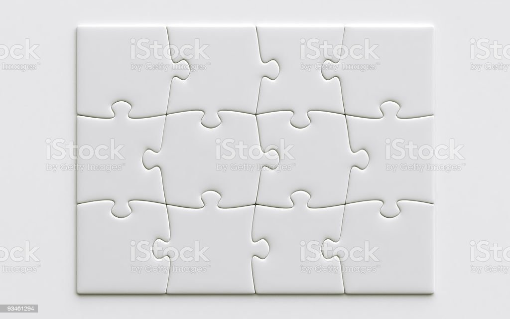 Twelve blank jigsaw pieces on a white background stock photo