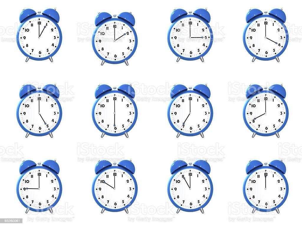 Twelve blue alarm clock's royalty-free stock photo