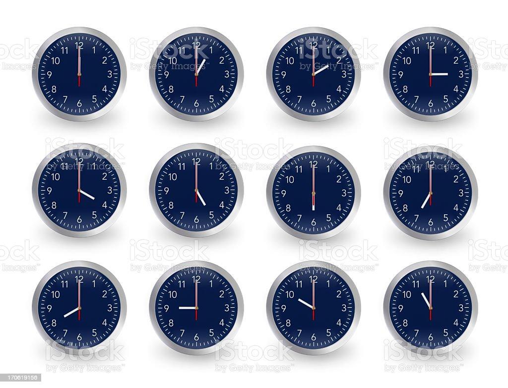 Twelve clocks, 12 hours. stock photo