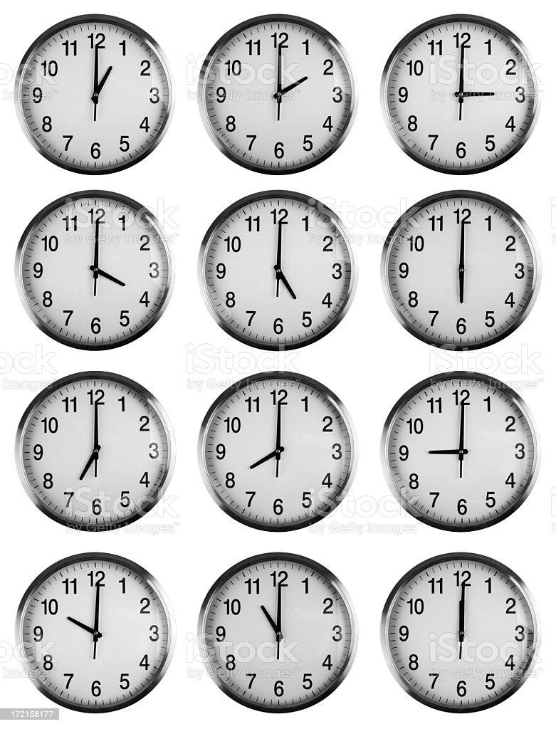 Twelve clocks showing each hour royalty-free stock photo