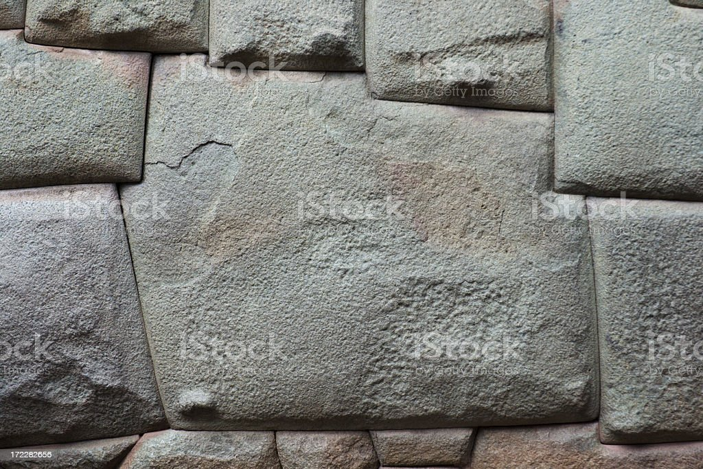 Twelve Corners Wall Stone, Angles Carved by Inca, Cuzco, Peru stock photo