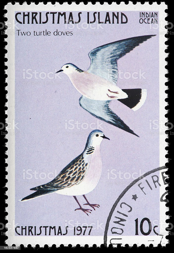 Twelve Days of Christmas Postage Stamp stock photo
