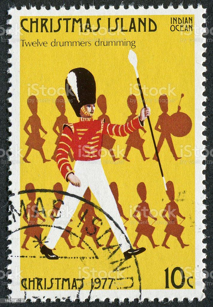 Twelve Drummers Drumming Stamp stock photo