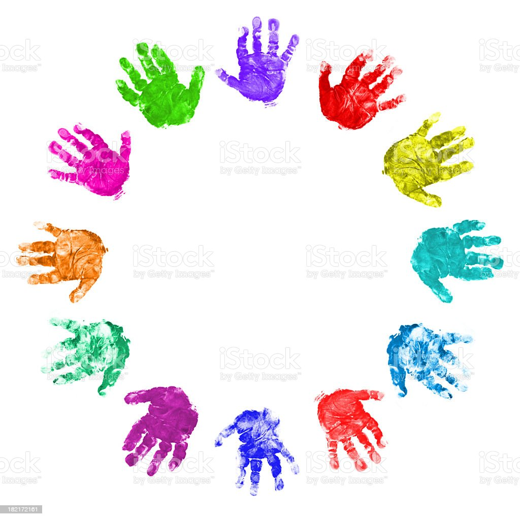 Twelve Hands Circle royalty-free stock photo