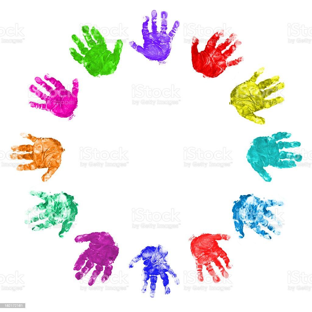 Twelve Hands Circle stock photo