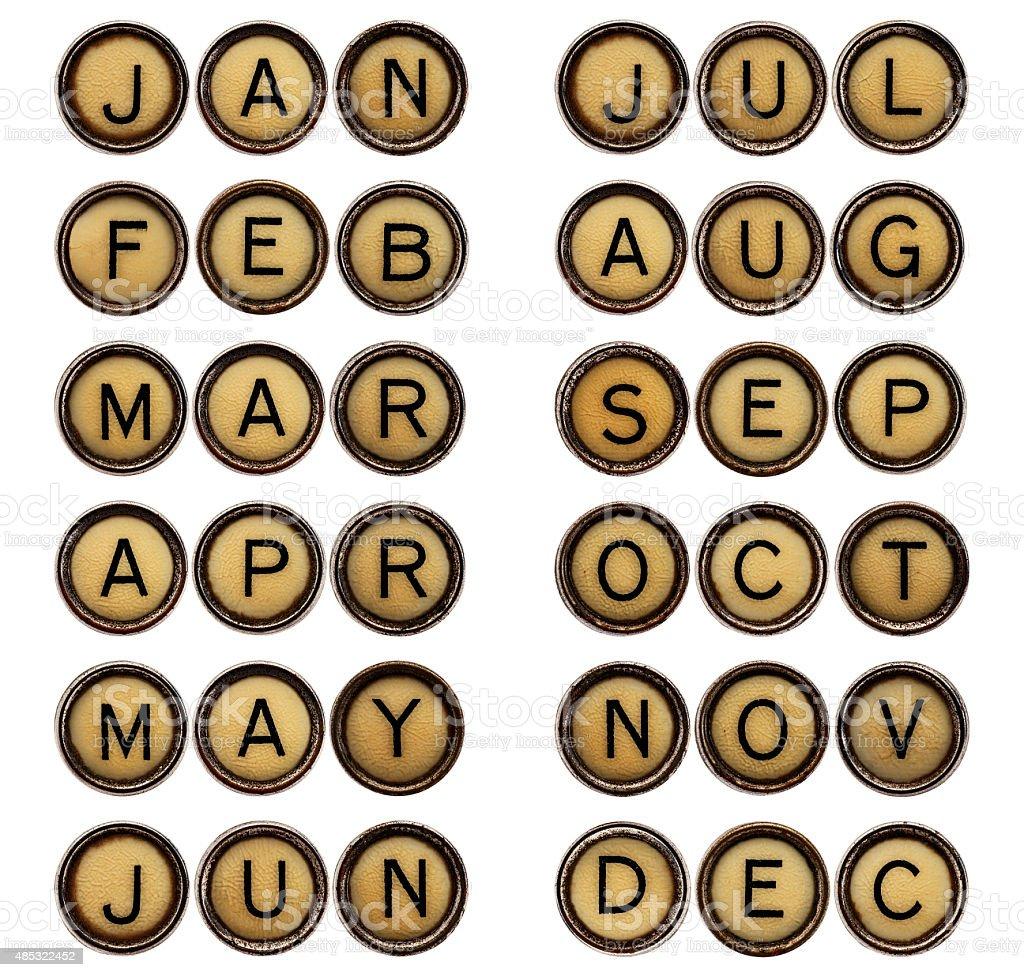 twelve  months - symbols in typewriter keys stock photo