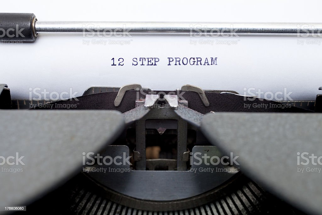 12 Twelve Step Program Typed on an Old Typewriter stock photo