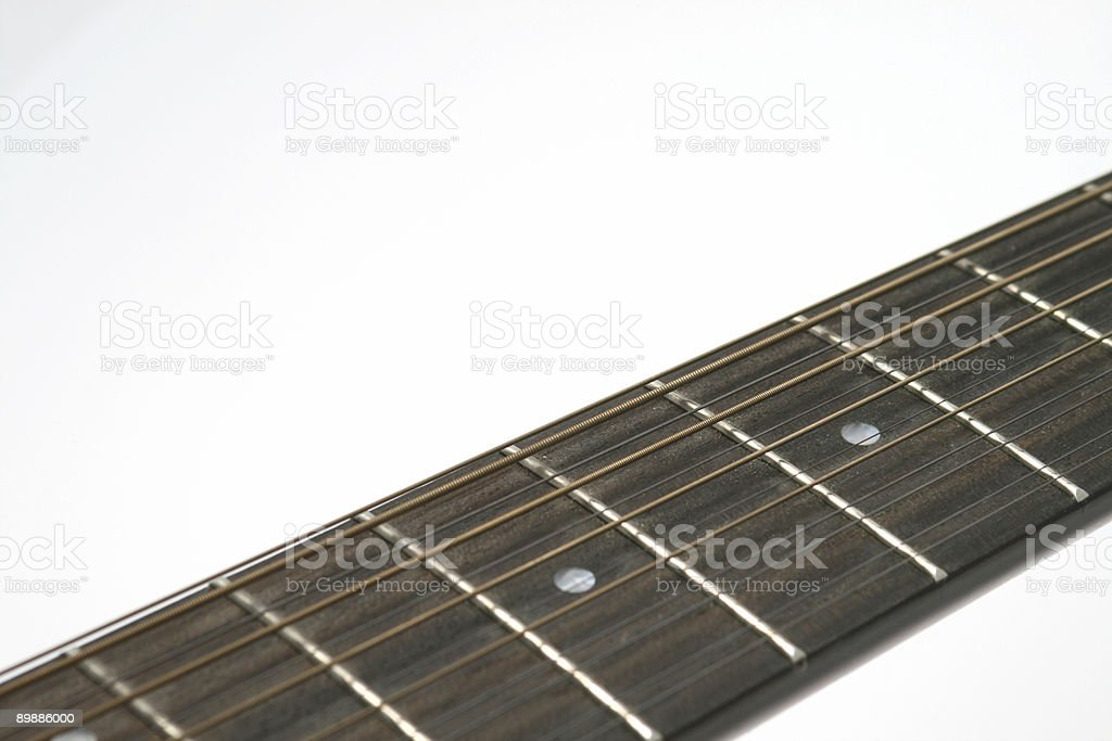 twelve string guitar closeup of neck against a white background stock photo