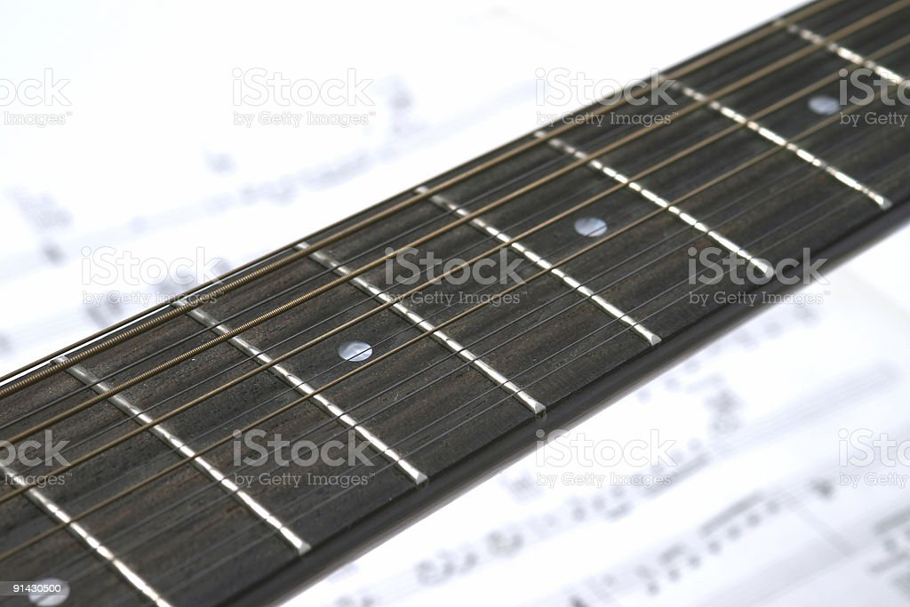 twelve string guitar closeup of neck stock photo