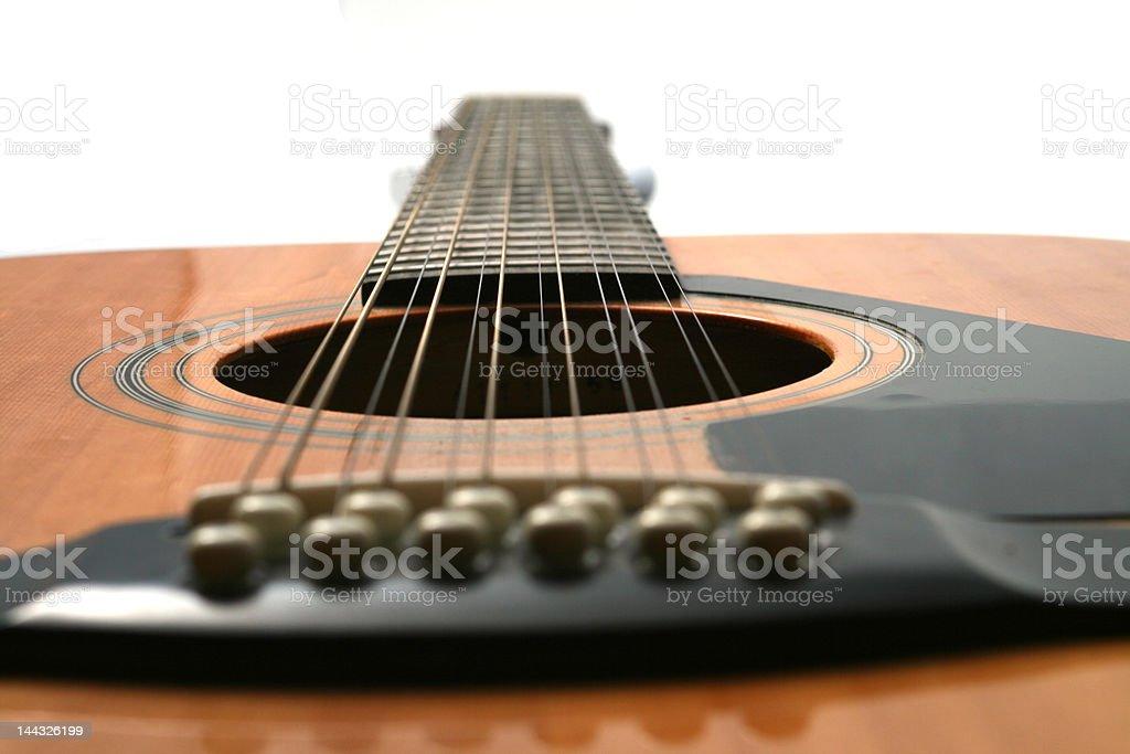 twelve string guitar looking from bridge to neck stock photo