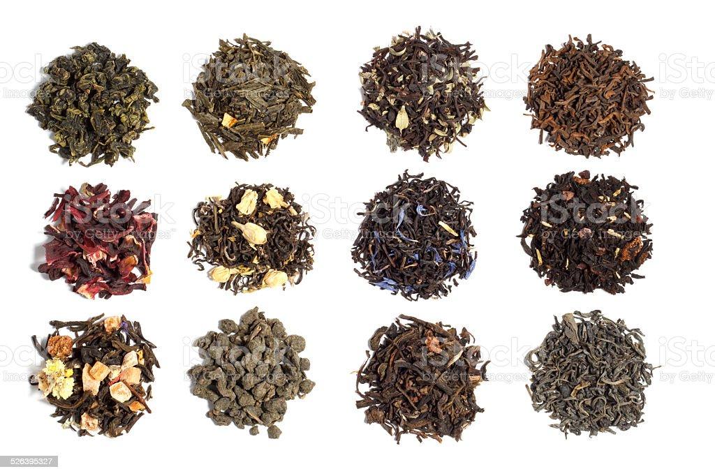 twelve varieties of tea stock photo