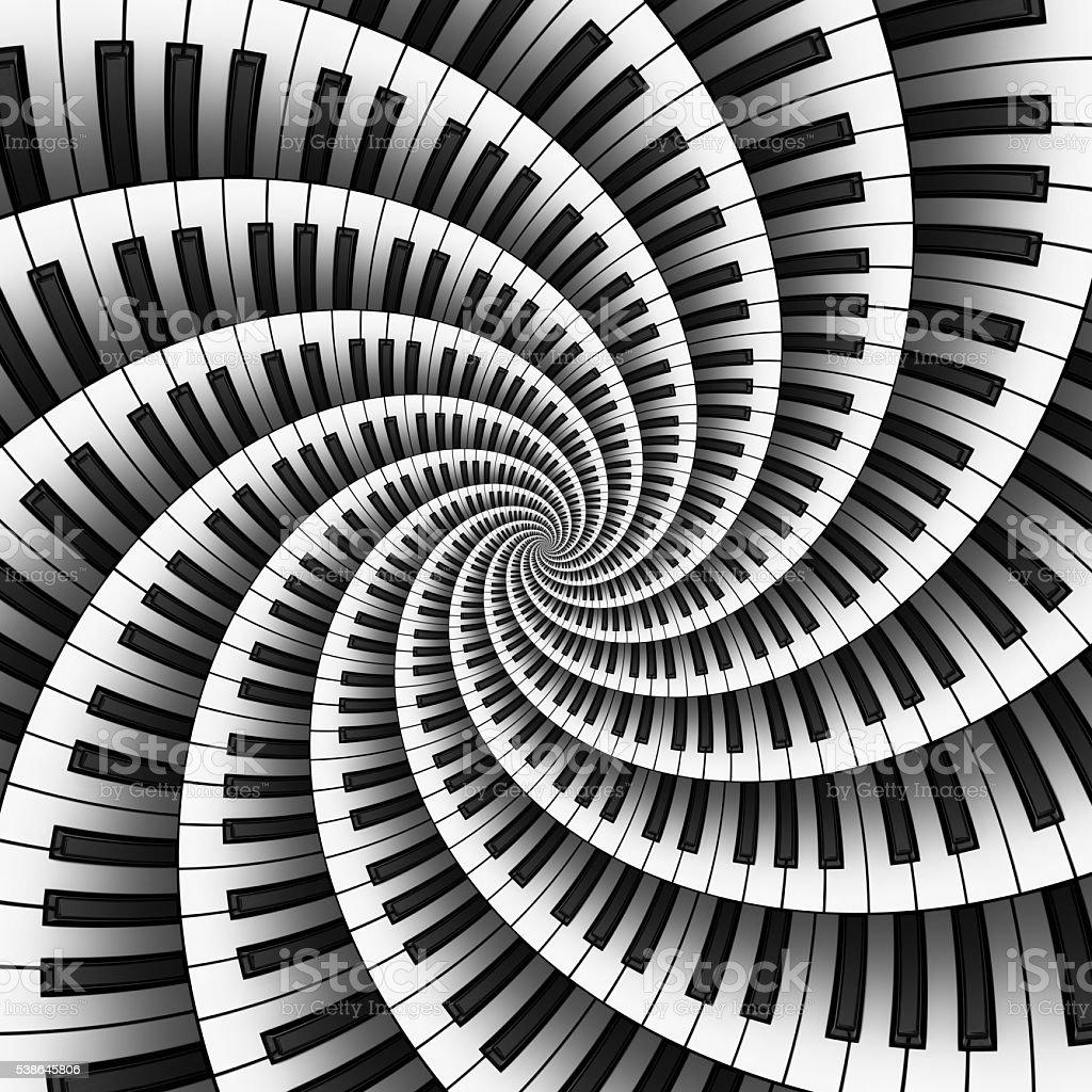 Twelve Way 3D Keyboard Spiral stock photo