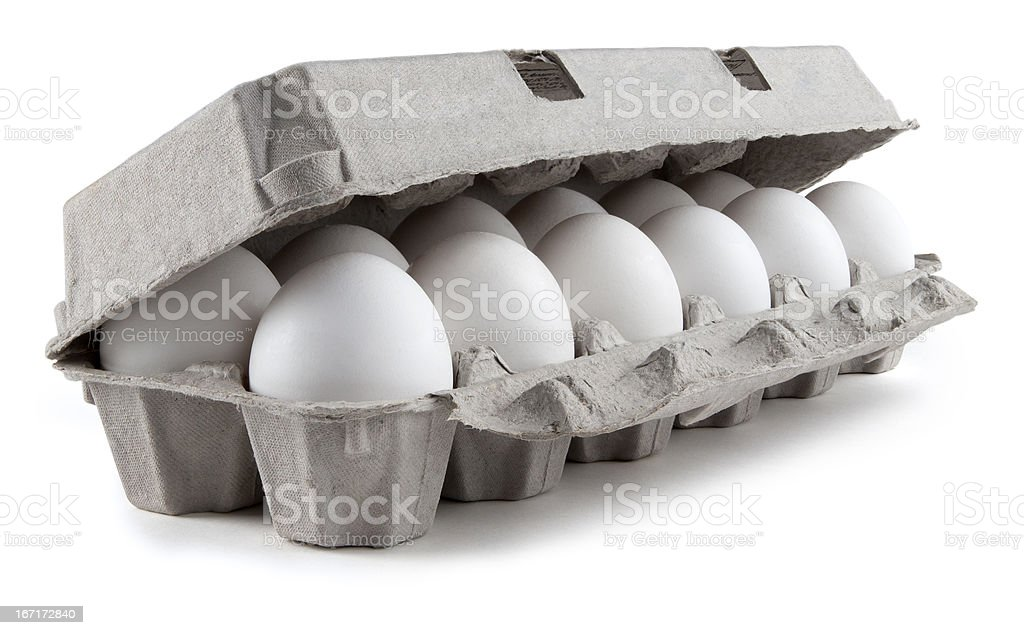 Twelve white eggs in a carton package stock photo