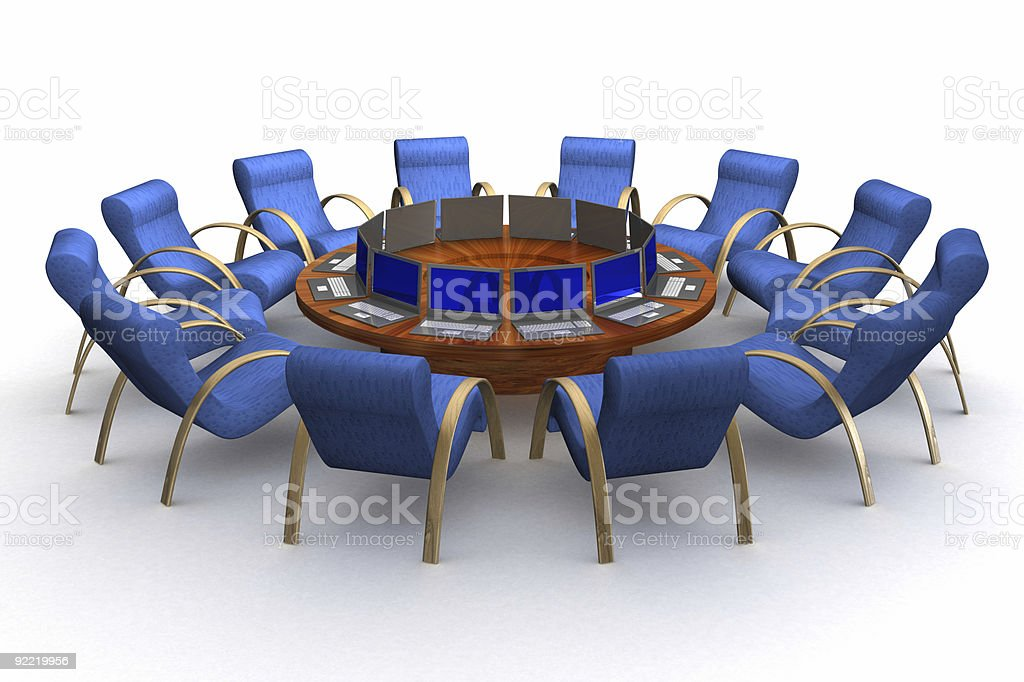 Twelve workplaces behind a round table. royalty-free stock vector art