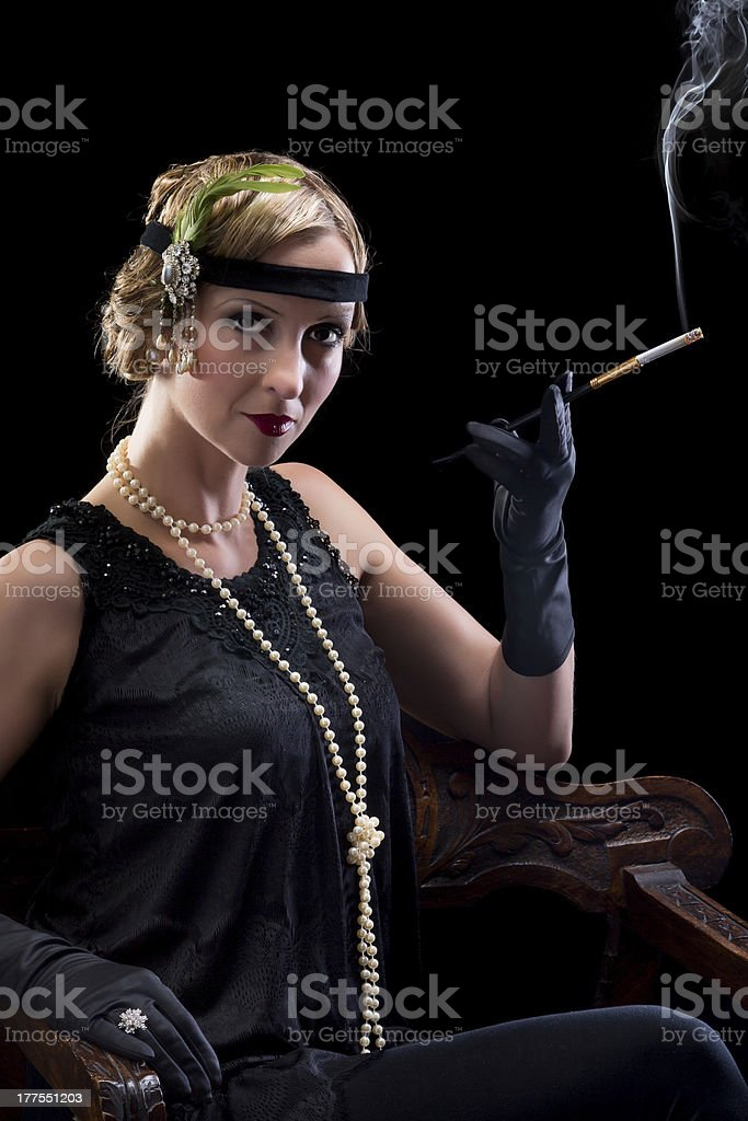 Twenties style cigarette royalty-free stock photo