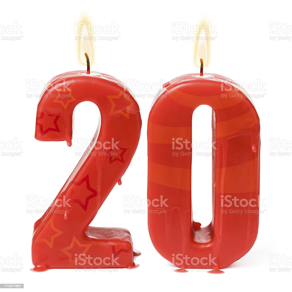 Twentieth 20th birthday or anniversary candles stock photo