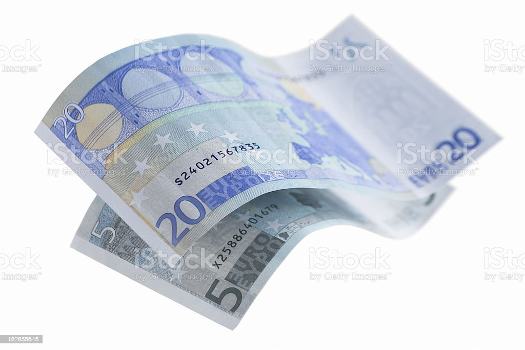 Twenty and five Euro banknote stock photo