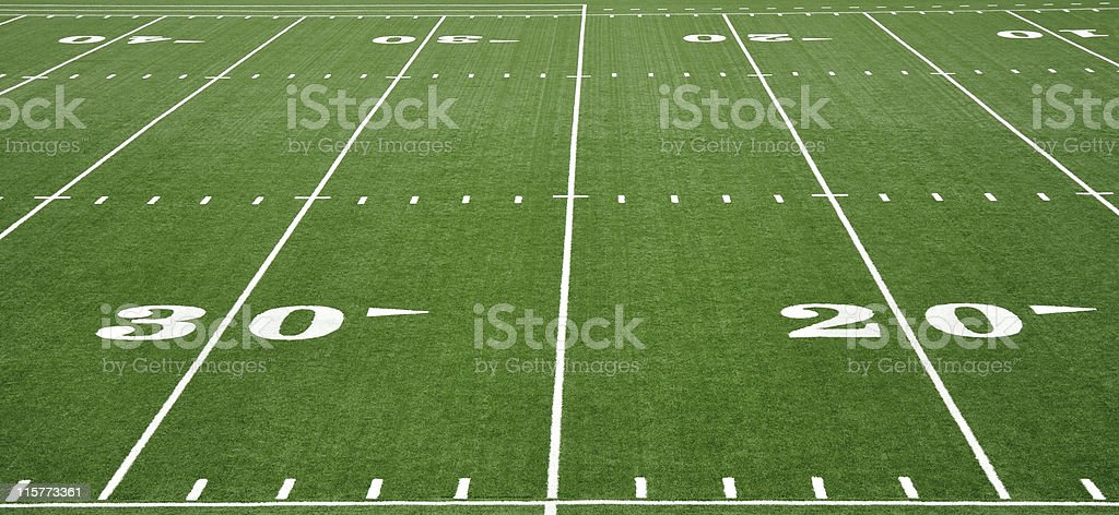 Twenty and Thirty Yard Line on American Football Field stock photo