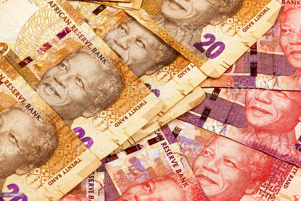 Twenty andFfifty Rand Brown and Red Bank Notes stock photo