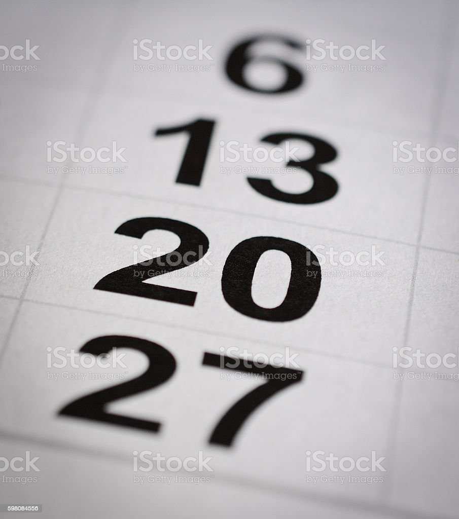 twenty calendar number stock photo
