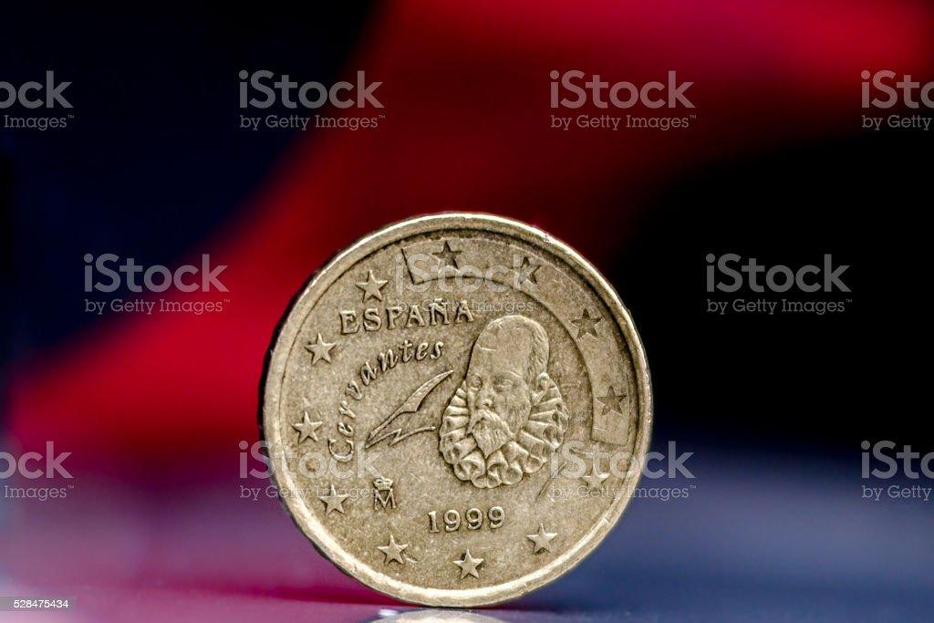 Twenty cents Spanish Coin stock photo