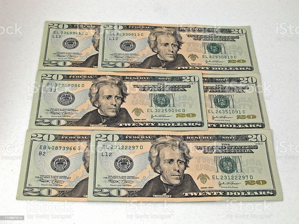 Twenty Dollar Bill Collage stock photo