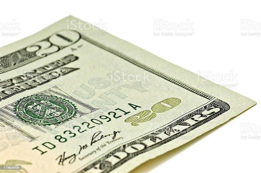 Twenty Dollar Bill Detail royalty-free stock photo