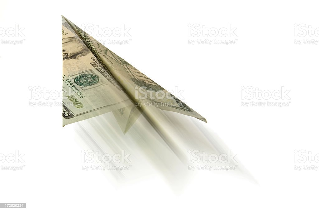 Twenty Dollar Bill Paper Airplane, USA Currency Flying in Motion stock photo