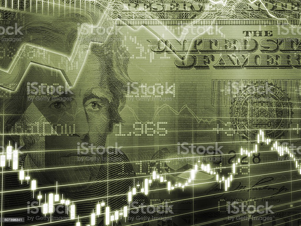 Twenty Dollar Bill with Stock Market Graph stock photo