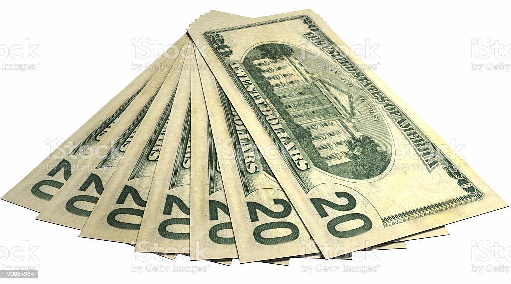 Twenty dollar bills Fan Back Face stock photo