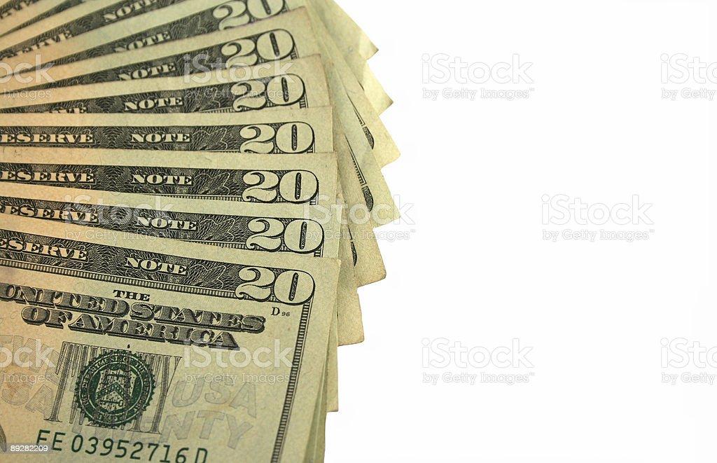 Twenty Dollar bills fanned out royalty-free stock photo