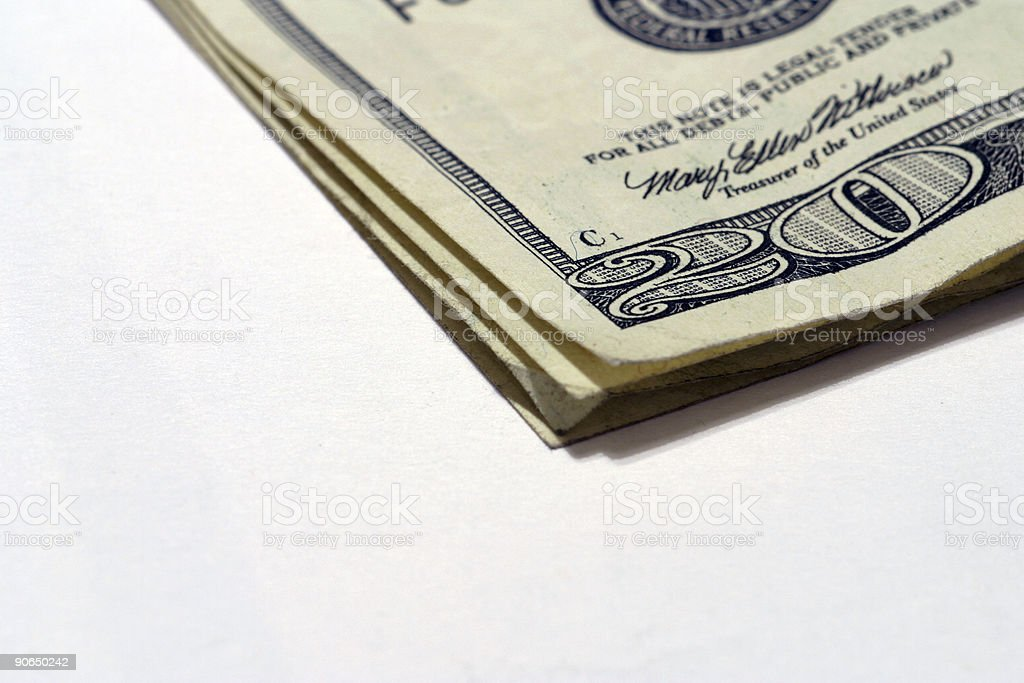 Twenty Dollar Bills Folded - 2 royalty-free stock photo