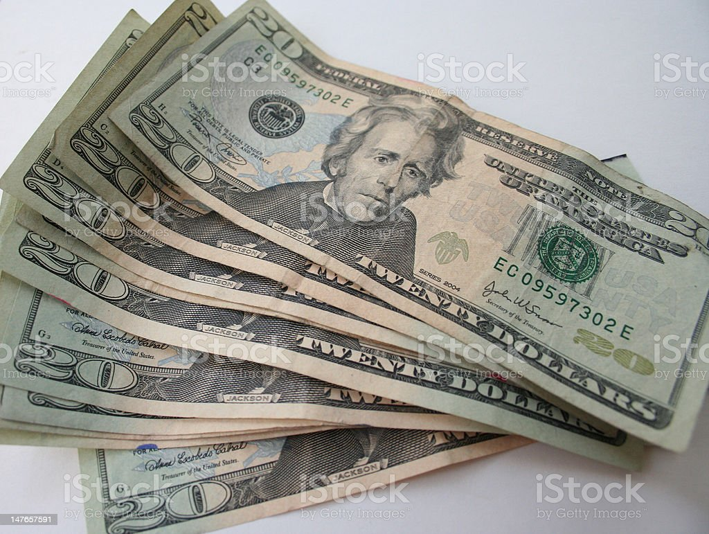 Twenty Dollar Bills royalty-free stock photo