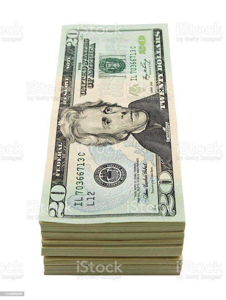 Twenty dollar stack royalty-free stock photo