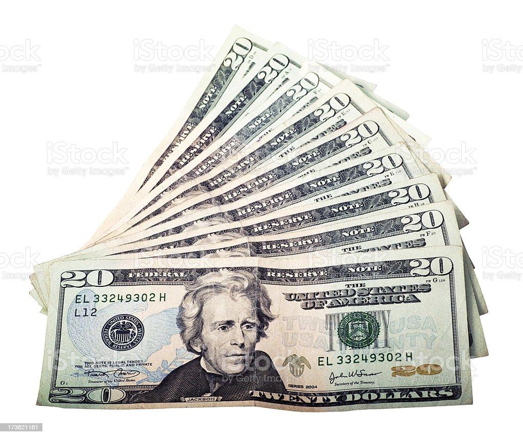 Twenty Dollars Background royalty-free stock photo