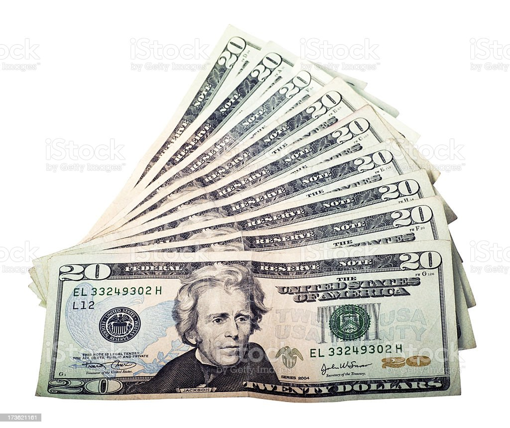 Twenty Dollars Background stock photo