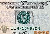 US twenty dollars bill closeup macro