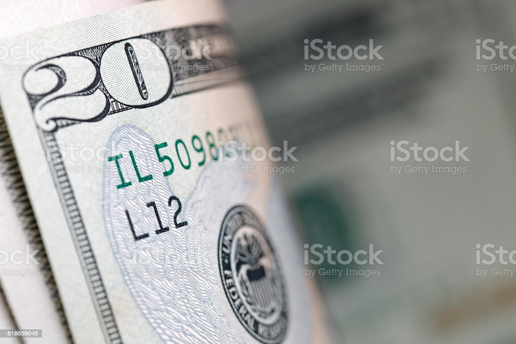 Twenty dollars bill stock photo