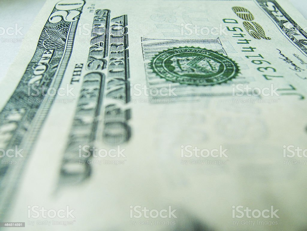 Twenty Dollars U.S. Currency royalty-free stock photo