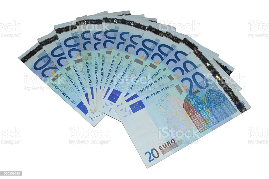 Serie billete de banco de viente euros foto de stock libre de derechos